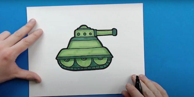 Как нарисовать танк: закрасьте детали и обведите танк