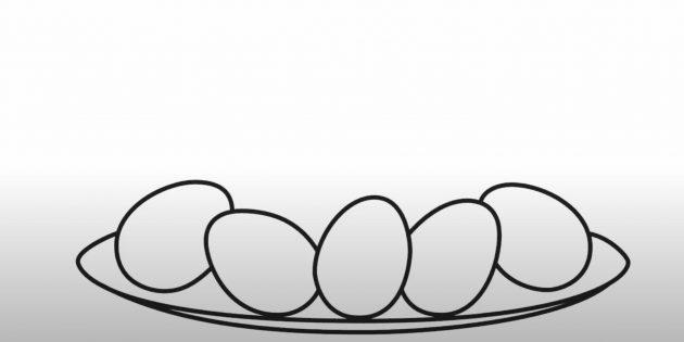 Рисунки на Пасху: нарисуйте яйца и тарелку
