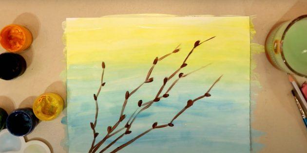 Рисунки к Пасхе: нарисуйте ветки