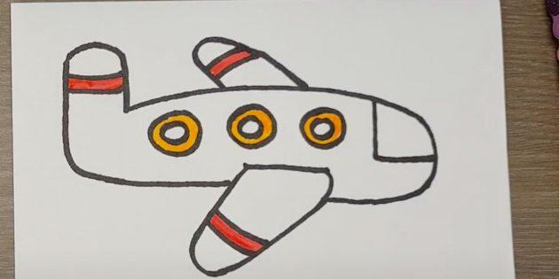 Как нарисовать самолёт: закрасьте мелкие детали