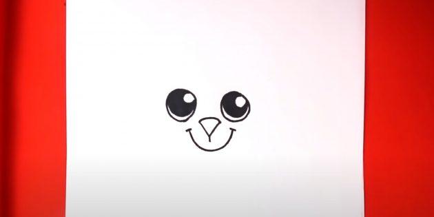 Рисунки на Пасху: нарисуйте глаза, рот и нос