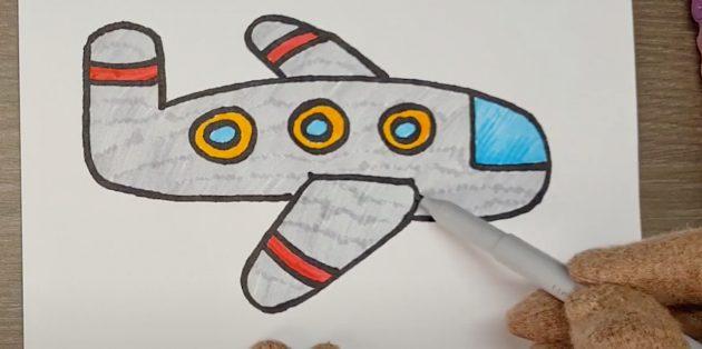 Как нарисовать самолёт: закрасьте стёкла и корпус
