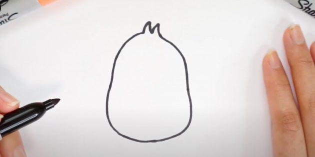 Рисунки на Пасху: нарисуйте тело цыплёнка