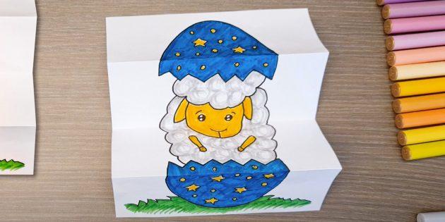 Поделки на Пасху своими руками: открытка с яйцом