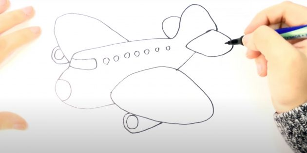 Как нарисовать самолёт: рисунок самолёта маркером