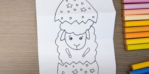 Нарисуйте тело и ноги овечки