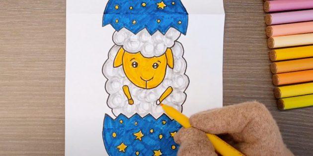 В завершении поделки на Пасху закрасьте тело, ноги и голову