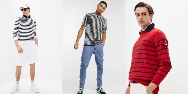 Мужская мода весны-лета — 2021: футболки и свитера в морском стиле