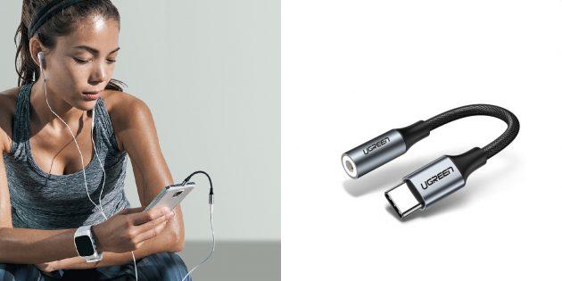 Электроника: переходник для наушников Ugreen