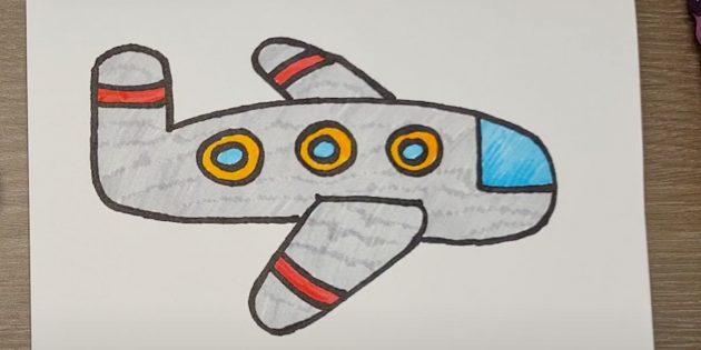 Как нарисовать самолёт: рисунок самолёта фломастерами