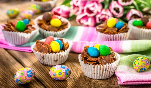 Шоколадные гнёзда — простой пасхальный десерт