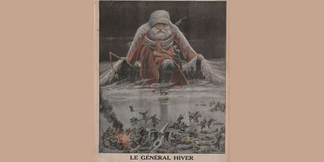 История Российской империи: «Генерал Зима наступает на немецкую армию», иллюстрация Луи Бомбле из журнала Le Petit Journal за январь 1916года.