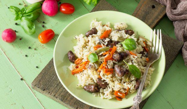 Рис с сердечками и овощами