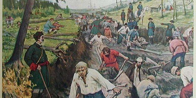 История Российской империи: строительство Ладожского канала, рисунок Александра Моравова и Ивана Сытина, 1910год.