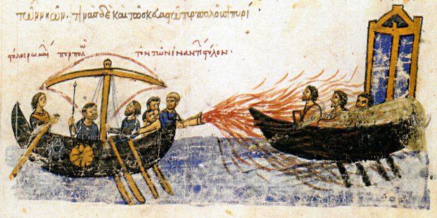 Технологии древних цивилизаций: корабль мятежника Фомы Славянина, использующий греческий огонь против византийского корабля в 821г.