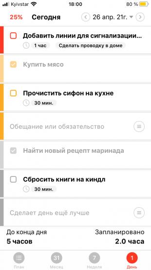 Приложение для планирования Selfplan показывает время на выполнение задач