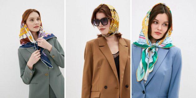 Женская мода весны-лета — 2021: шёлковый платок на голову