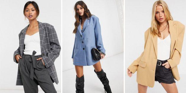 Женская мода весны-лета — 2021: объёмный пиджак-бойфренд с подплечниками