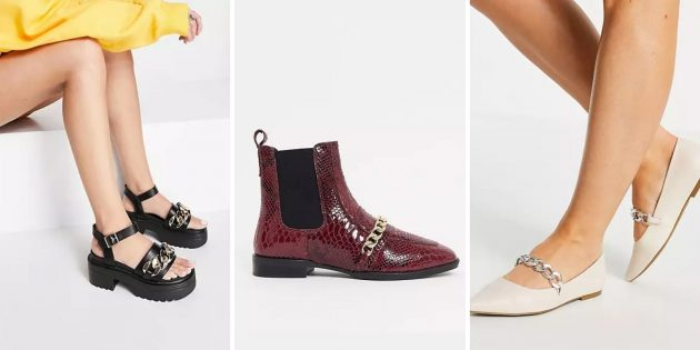 Модная женская обувь — 2021: модели, декорированные цепочкой