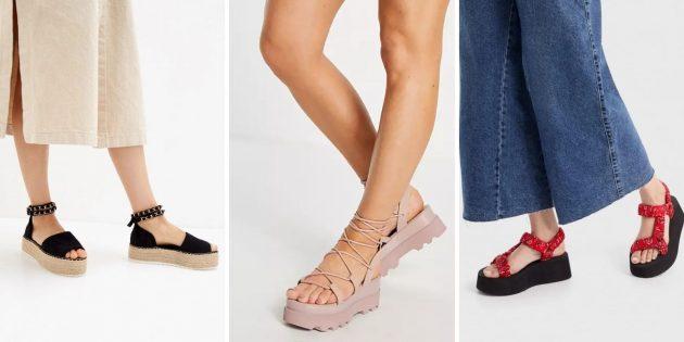 Модная женская обувь лета-2021: сандалии на высокой почти плоской платформе