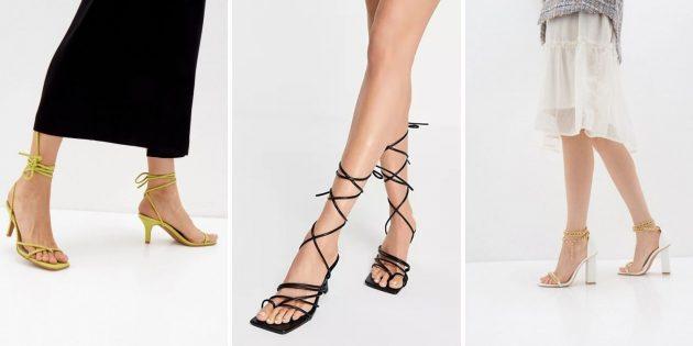 Модная женская обувь лета-2021: босоножки с ремешками-шнуровкой