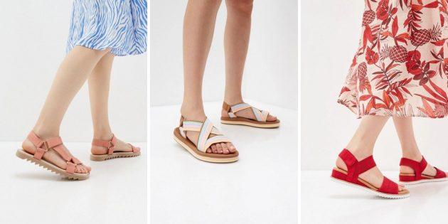 Модная женская обувь весны-лета — 2021: тканевые сандалии на липучках