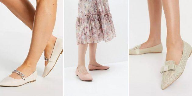 Модная женская обувь весны-2021: балетки нейтральных оттенков