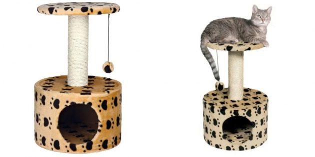 Домики для кошек: с игрушкой и когтеточкой