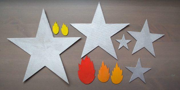Поделки к 9Мая: Сделайте звёзды и пламя