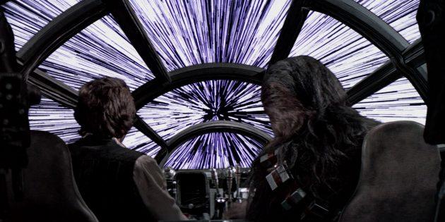 Что в кино показывают неправильно: если двигаться со скоростью света, звёзды будут выглядеть как светящиеся линии