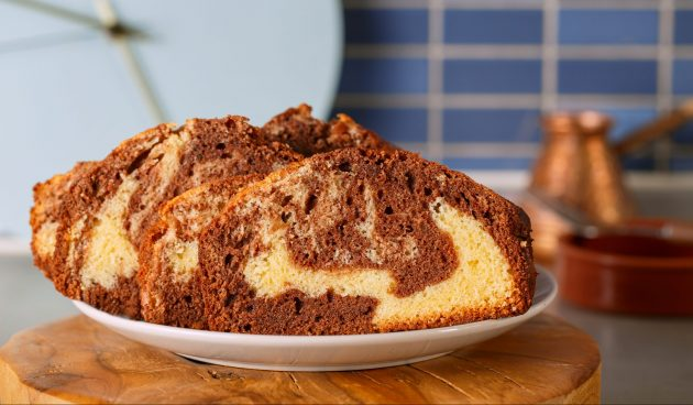 Мраморный кекс без духовки