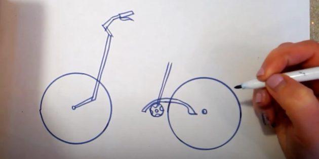 Как нарисовать велосипед: нарисуйте руль