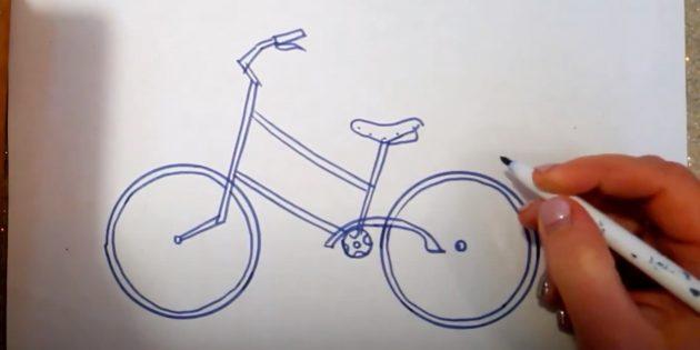 Как нарисовать велосипед: изобразите раму