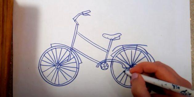 Как нарисовать велосипед: нарисуйте спицы, багажник и крылья
