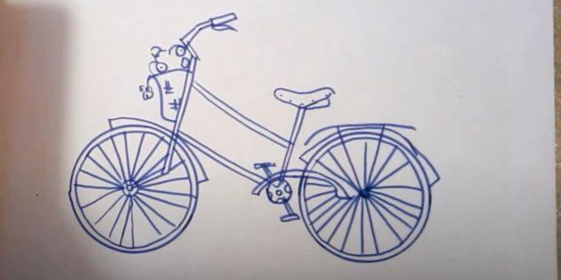 Как нарисовать велосипед: нарисуйте педали и корзинку