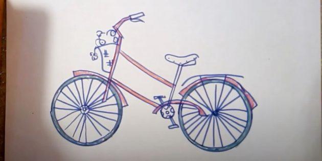 Как нарисовать велосипед: закрасьте раму, щитки и покрышки