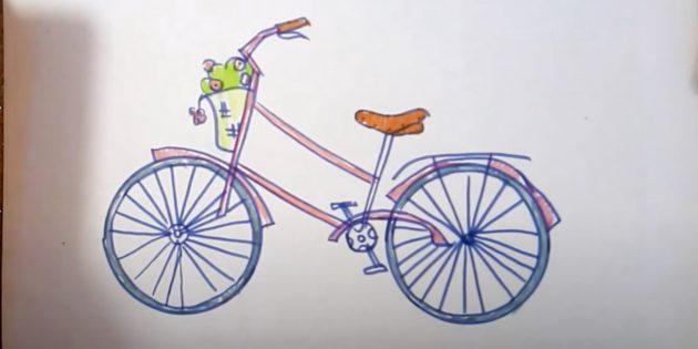 Как нарисовать велосипед: закрасьте цветы, корзинку и седло