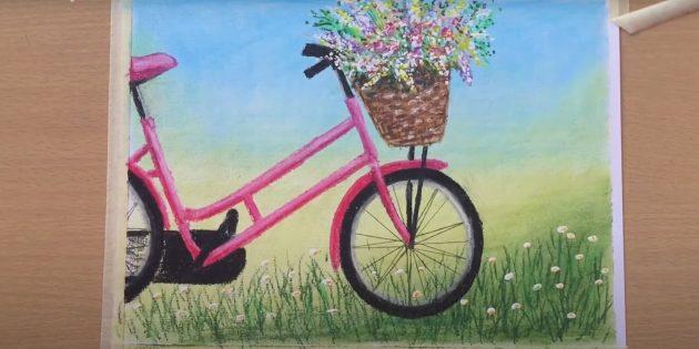 Как нарисовать велосипед: рисунок велосипеда пастелью
