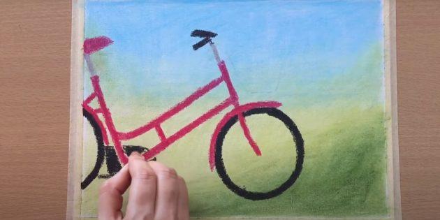 Как нарисовать велосипед: закрасьте колёса и нарисуйте руль
