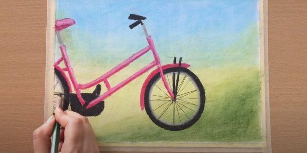 Как нарисовать велосипед: добавьте блики, нарисуйте ободья и спицы