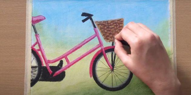 Как нарисовать велосипед: прорисуйте корзинку