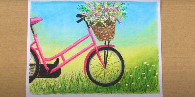 Как нарисовать велосипед: нарисуйте травинки и цветы