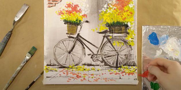 Как нарисовать велосипед: рисунок велосипеда красками