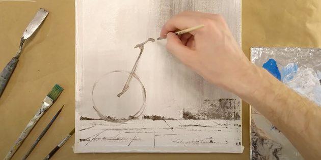 Как нарисовать велосипед: наметьте колесо, рулевую трубу и руль