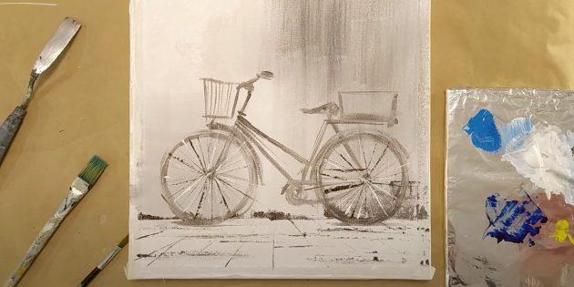 Как нарисовать велосипед: нарисуйте спицы и корзинки