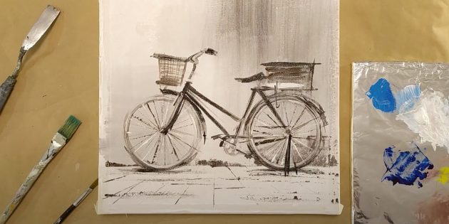 Как нарисовать велосипед: обведите рисунок
