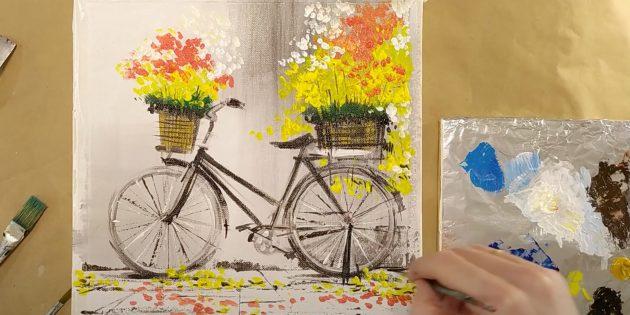 Как нарисовать велосипед: изобразите цветы