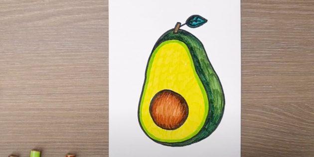 Рисунок авокадо фломастерами
