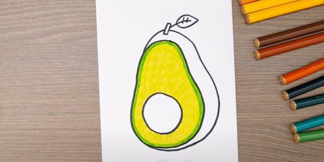 Закрасьте внутреннюю часть авокадо