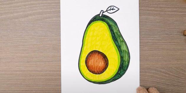 Как нарисовать авокадо: закрасьте косточку и боковую часть фрукта